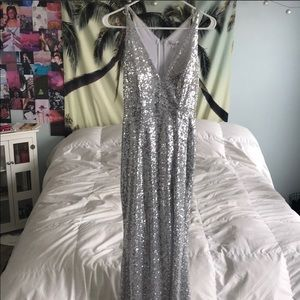 NEW WITH TAGS. Silver Sequin Gown